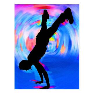 Straßen-Tanzen, Silhouette, Blues/Rottöne/rosa Postkarte