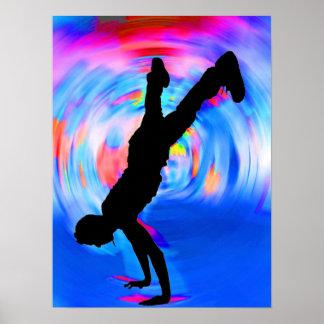Straßen-Tanzen, Silhouette, Blues/Rottöne/rosa Sch Poster