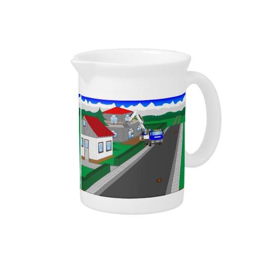 Straßen und Hausbau Getränke Pitcher