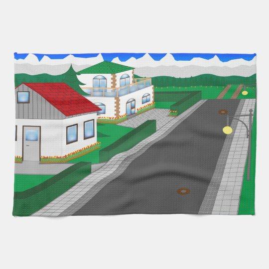 Straßen und Hausbau Küchentuch