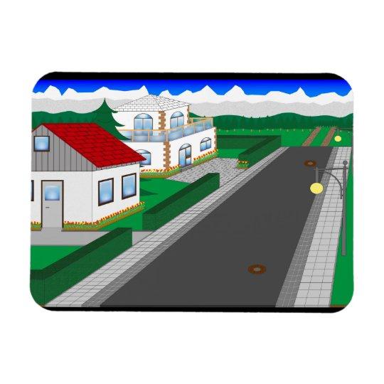 Straßen und Hausbau Magnet