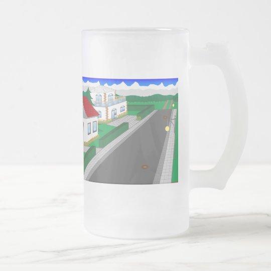 Straßen und Hausbau Mattglas Bierglas