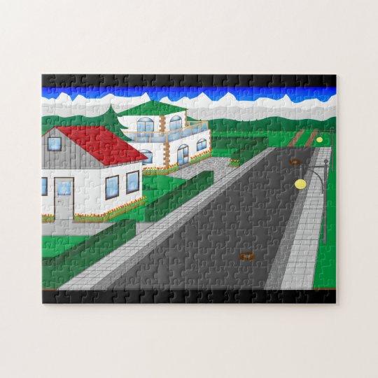 Straßen und Hausbau Puzzle