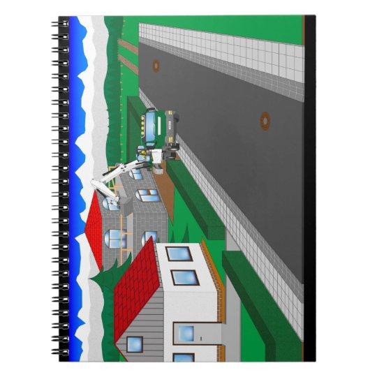 Straßen und Hausbau Spiral Notizblock