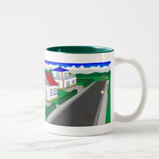 Straßen und Hausbau Zweifarbige Tasse