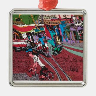 Straßenauto in Hanoi Quadratisches Silberfarbenes Ornament