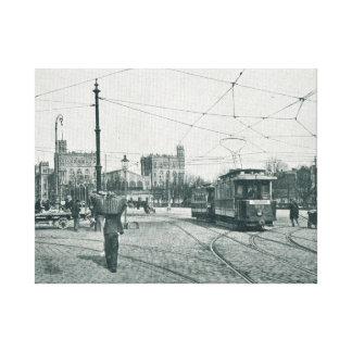 Straßenbahn Praterstern und das Gard du Nord Paris Leinwand Druck