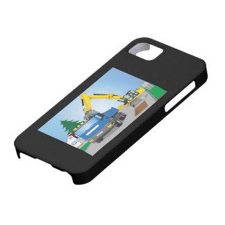 Straßenbaustelle mit blauem LKW und gelben Bagger Schutzhülle Fürs iPhone 5