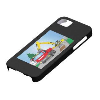 Straßenbaustelle mit rotem LKW und gelben Bagger Etui Fürs iPhone 5