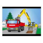 Straßenbaustelle mit rotem LKW und gelben Bagger Postkarte