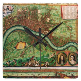 Straßenkarte antiken Londons des 17. Jahrhunderts, Quadratische Wanduhr