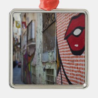 Straßenkunst auf Straße Calle de la Libertad Quadratisches Silberfarbenes Ornament