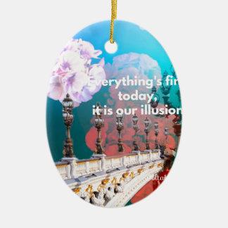 Straßenlaterne-Blumen und -mitteilung Keramik Ornament