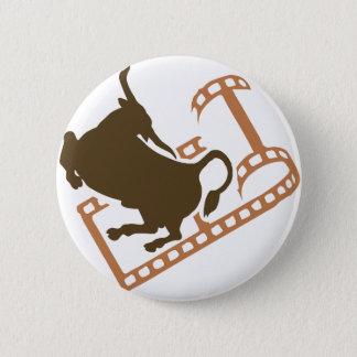 Sträubende Stier-Filmrolle Runder Button 5,7 Cm