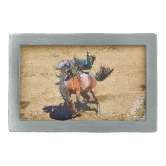Sträubende ungesattelte Pferden-und Rechteckige Gürtelschnalle