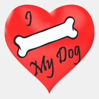 Streich I (Knochen) meine Hundeherzaufkleber Herz-Aufkleber