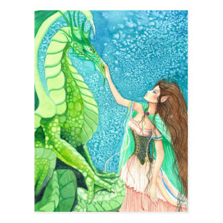 Streicheln des Smaragddrachen Postkarte