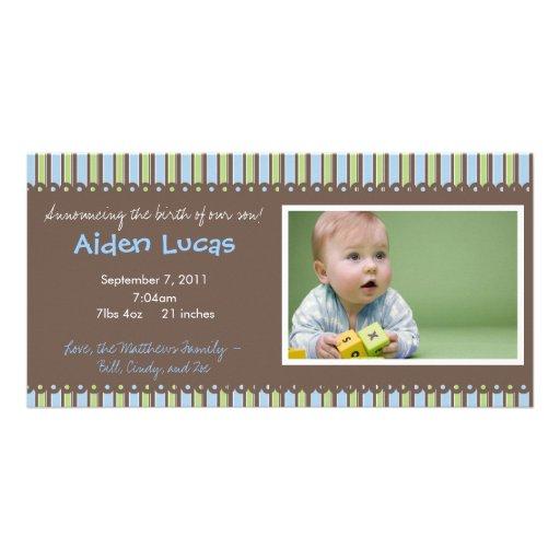 Streifen-Baby-Geburts-Mitteilung Personalisierte Foto Karte