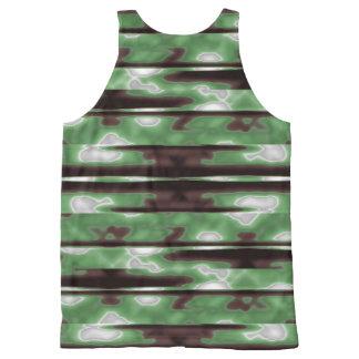 Streifen-Camouflage-Muster-Druck Komplett Bedrucktes Tanktop