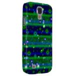 Streifen des blauen Grüns mit Sternchen und Galaxy S4 Hülle