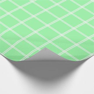 Streifen des Weiß-zwei kariert auf Frühlings-Grün Geschenkpapier