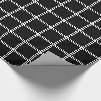 Streifen des Weiß-zwei kariert auf Raben-Schwarzem Geschenkpapier