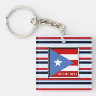 Streifen-Gewohnheit, Puerto- Ricoflagge Schlüsselanhänger