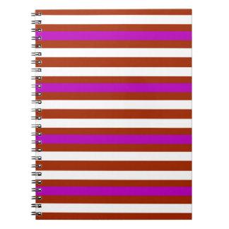 Streifen-horizontales lila rotes Weiß Spiral Notizblock