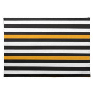 Streifen-horizontales orange Schwarz-weißes Tischset