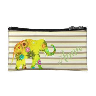 Streifen, lustig, Blume, Elefant, personalisiert Kosmetiktasche