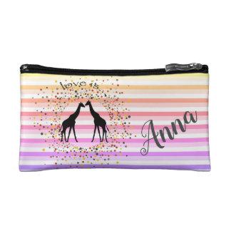 Streifen, lustig, Giraffen, personalisiert Makeup-Tasche