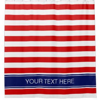 Streifen-Namen-Monogramm der roten weißen Duschvorhang