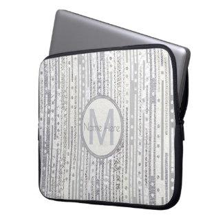 Streifen-Punkt-Silber-weiße Laptopschutzhülle