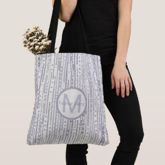 Streifen-Punkt-Silber-weißes graues Tasche