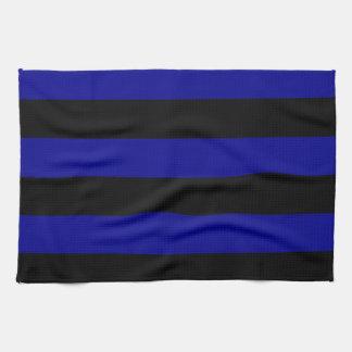 Streifen - schwarz und dunkelblau handtuch