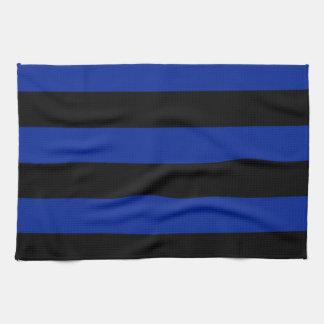 Streifen - schwarz und Kaiserblau Handtücher