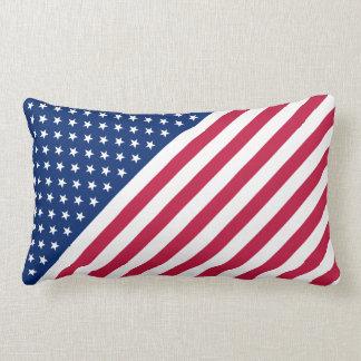 Streifen-Stern-Flaggelumbar-Kissen US rotes blaues Zierkissen