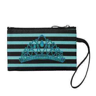 Streifen-Türkis Prinzessin-Tiara Crown Modern Münzbeutel