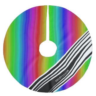 Streifen-vertikaler Griff-Regenbogen Polyester Weihnachtsbaumdecke