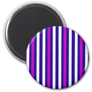 Streifen-vertikales lila blaues Weiß Runder Magnet 5,7 Cm