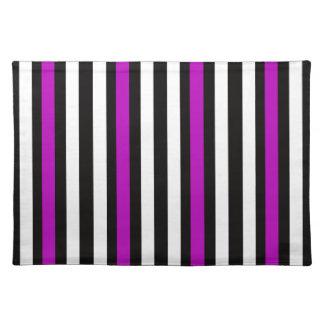 Streifen-vertikales lila Schwarz-weißes Stofftischset