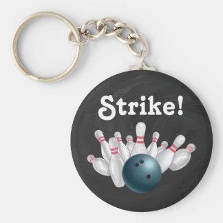 Streik! Blauer Bowlings-Ball mit Schlüsselanhänger