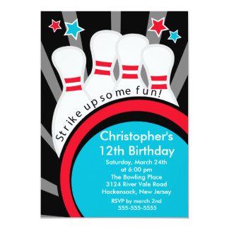 Streik herauf Spaß-Bowlings-Geburtstags-Party Personalisierte Einladungskarte