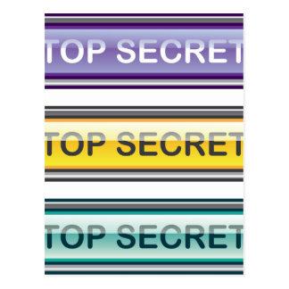 Streng geheim glatter Knopf Postkarte