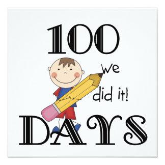 Strichmännchen 100 Tage Quadratische 13,3 Cm Einladungskarte
