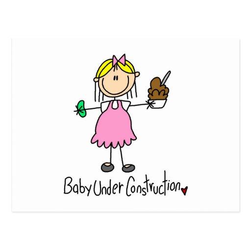 Strichmännchen-Baby im Bau Postkarte