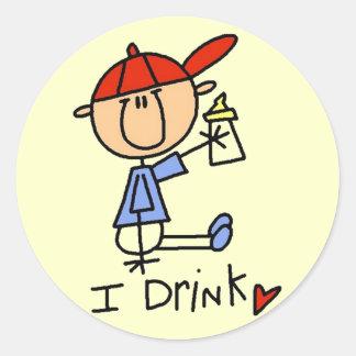 Strichmännchen-Baby trinke ich T-Shirts und Runder Aufkleber