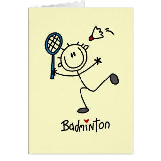 Strichmännchen-Badminton-T - Shirts und Geschenke Karte