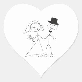 Strichmännchen-Braut-u. Bräutigam-Hochzeits-Herzen Herz Sticker