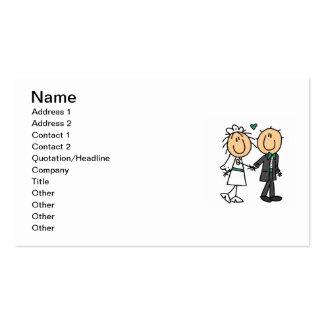 Strichmännchen-Braut und Bräutigam-T-Shirts und Visitenkarte